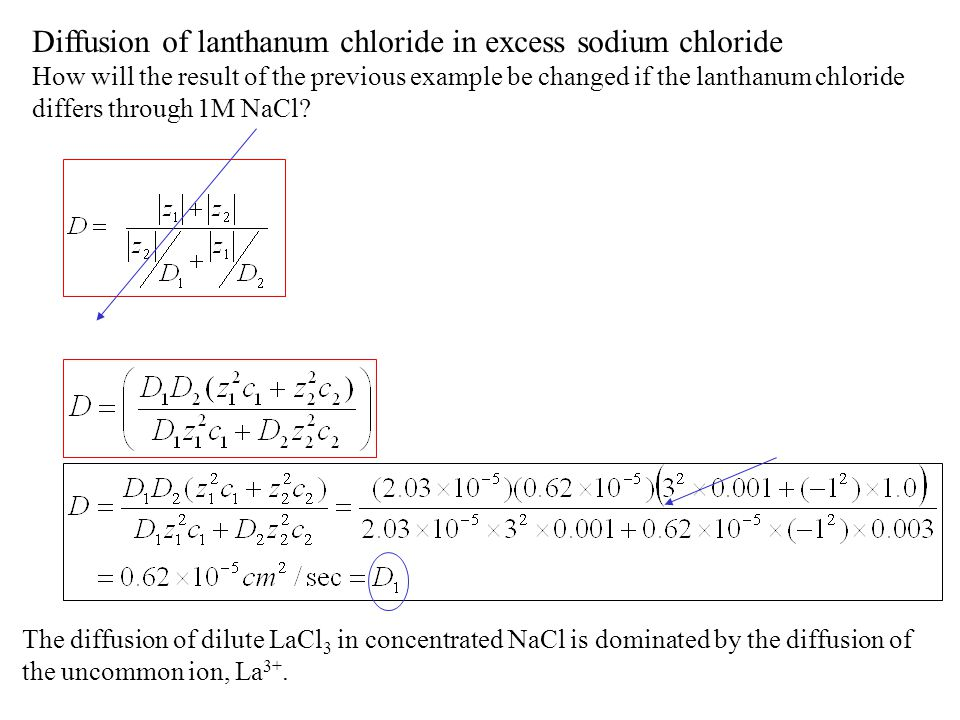 Diffusion of lanthanum chloride in excess sodium chloride