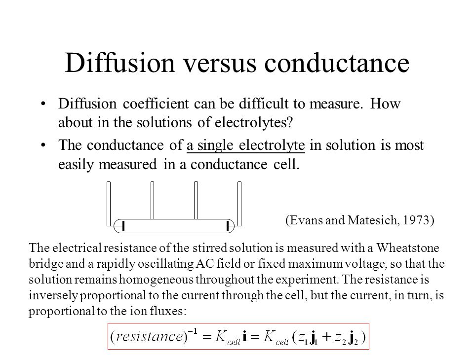 Diffusion versus conductance