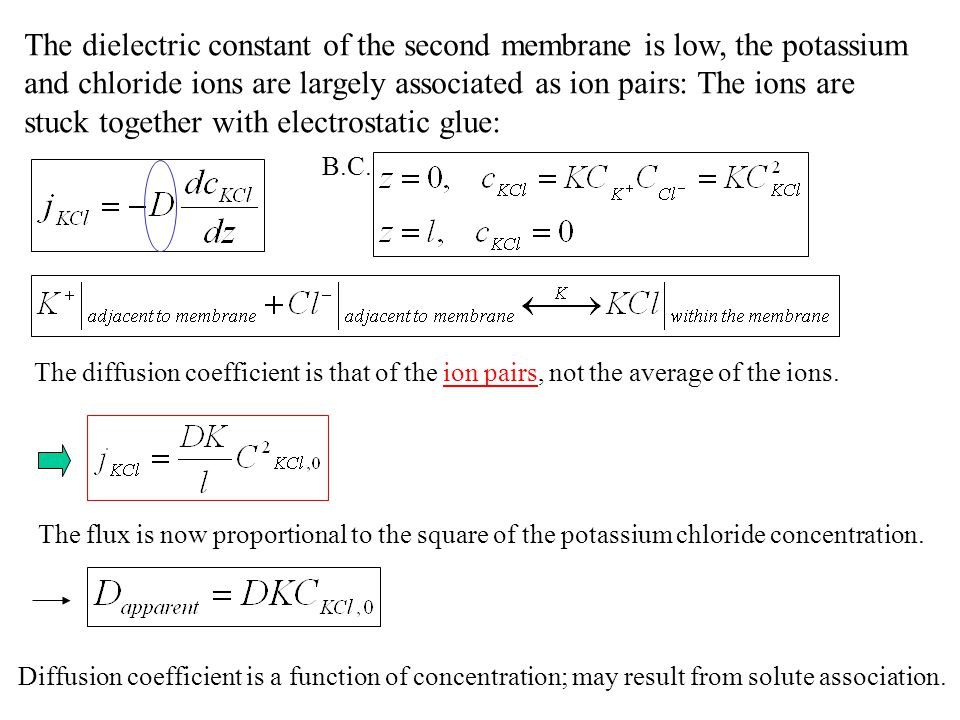 The dielectric constant of the second membrane is low, the potassium and chloride ions are largely associated as ion pairs: The ions are stuck together with electrostatic glue: