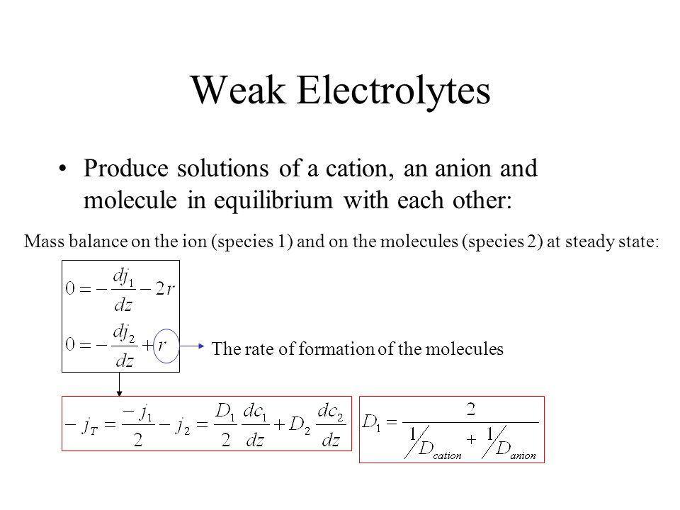 Weak Electrolytes Produce solutions of a cation, an anion and molecule in equilibrium with each other: