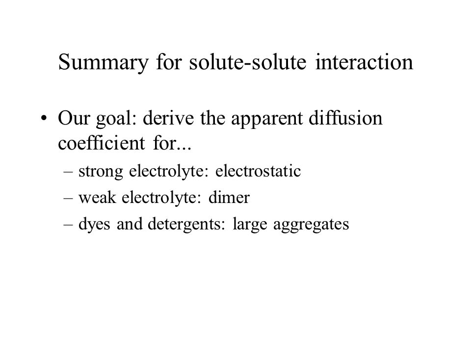 Summary for solute-solute interaction