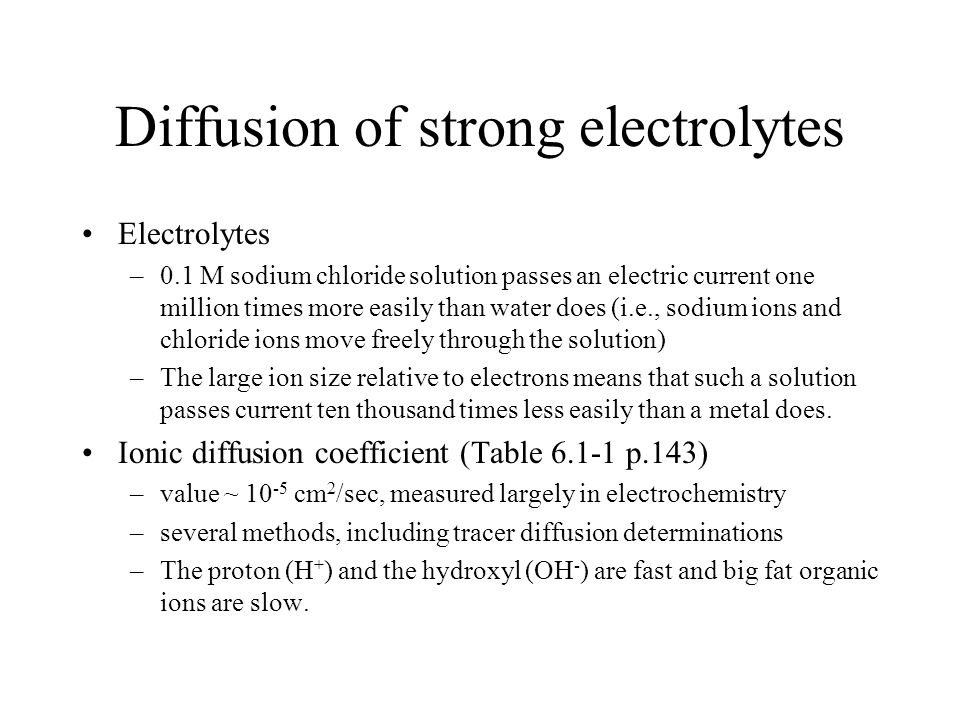 Diffusion of strong electrolytes