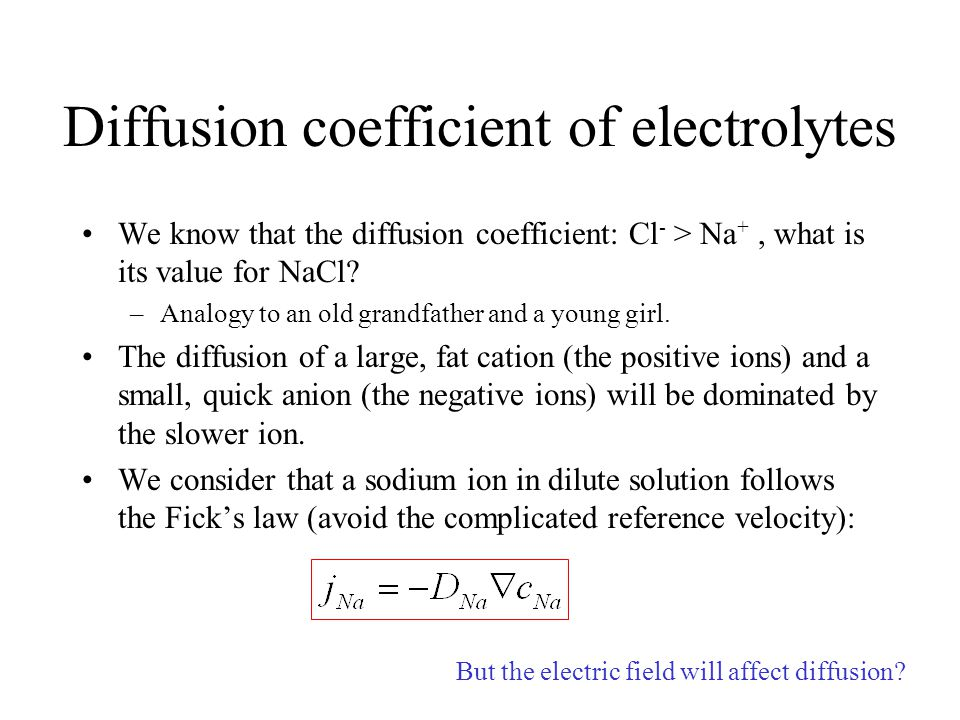 Diffusion coefficient of electrolytes