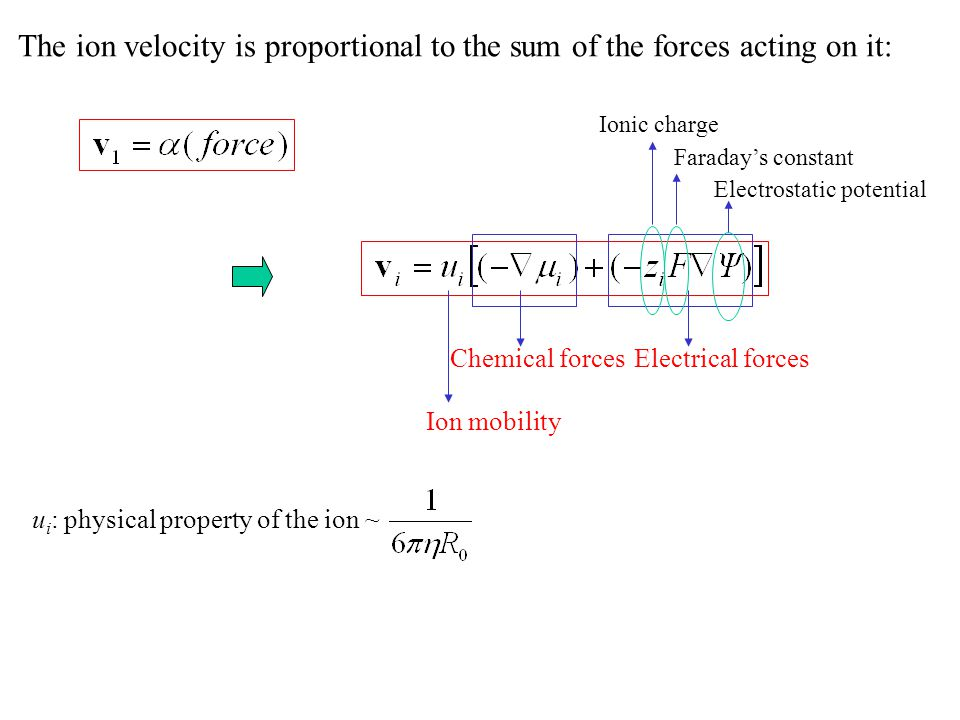 The ion velocity is proportional to the sum of the forces acting on it: