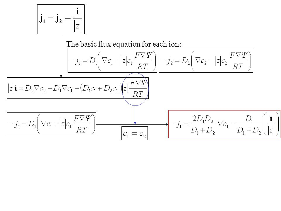 The basic flux equation for each ion: