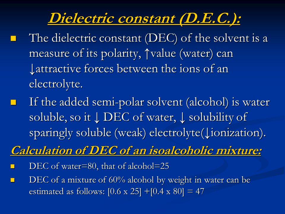 Dielectric constant (D.E.C.):