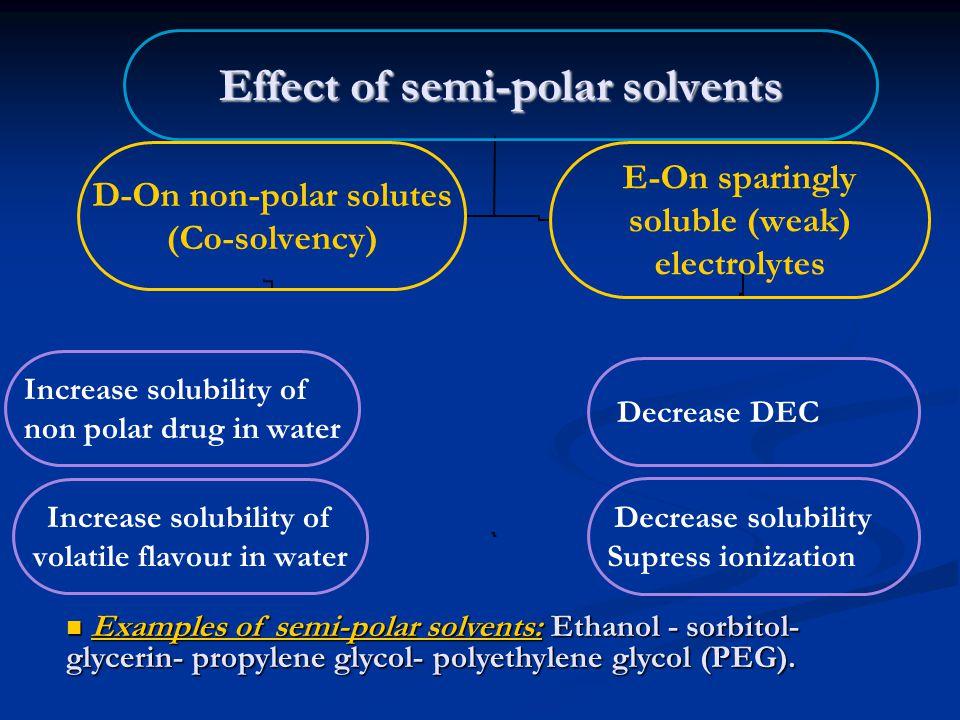 Examples of semi-polar solvents: Ethanol - sorbitol- glycerin- propylene glycol- polyethylene glycol (PEG).