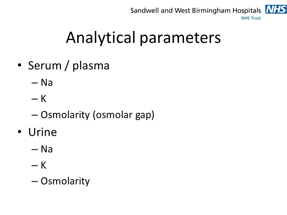 Analytical parameters