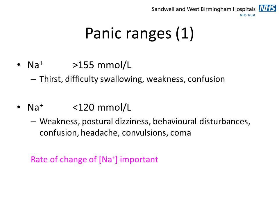 Panic ranges (1) Na+ >155 mmol/L Na+ <120 mmol/L
