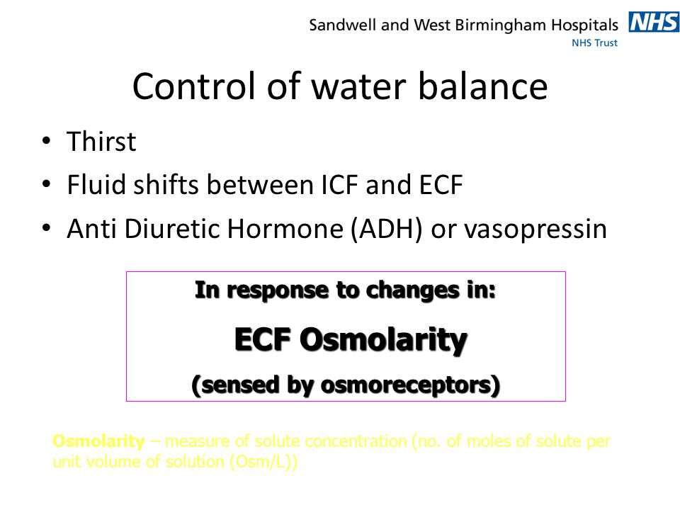 Control of water balance