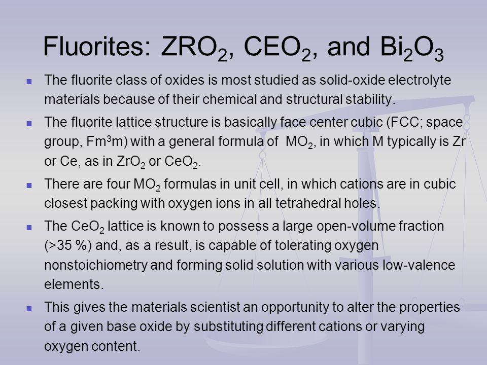 Fluorites: ZRO2, CEO2, and Bi2O3