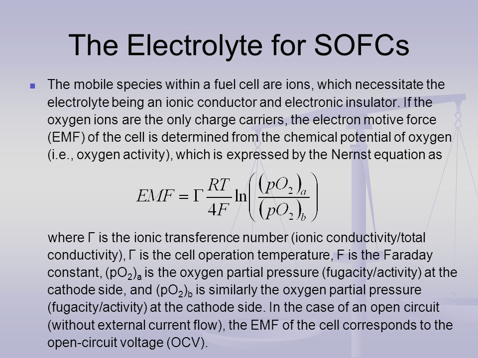 The Electrolyte for SOFCs