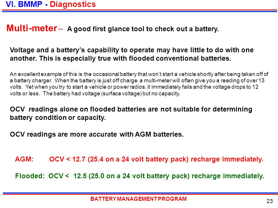 Multi-meter – A good first glance tool to check out a battery.