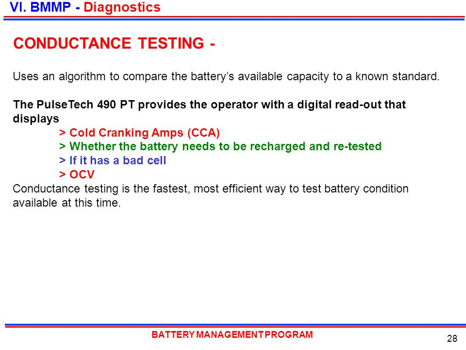CONDUCTANCE TESTING - VI. BMMP - Diagnostics