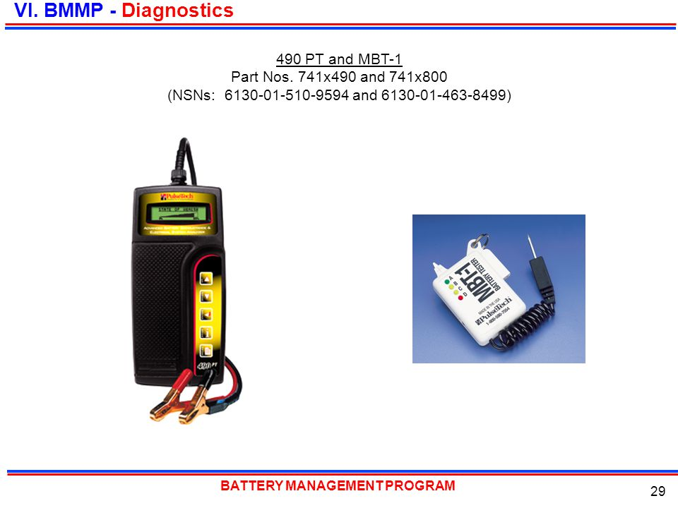 VI. BMMP - Diagnostics 490 PT and MBT-1 Part Nos. 741x490 and 741x800