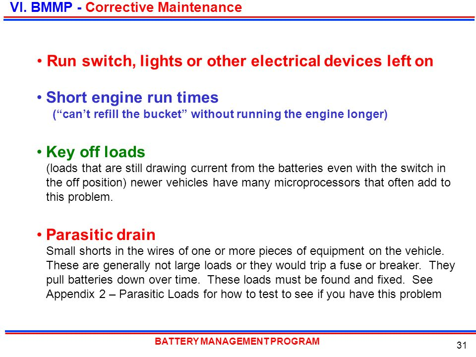 Run switch, lights or other electrical devices left on