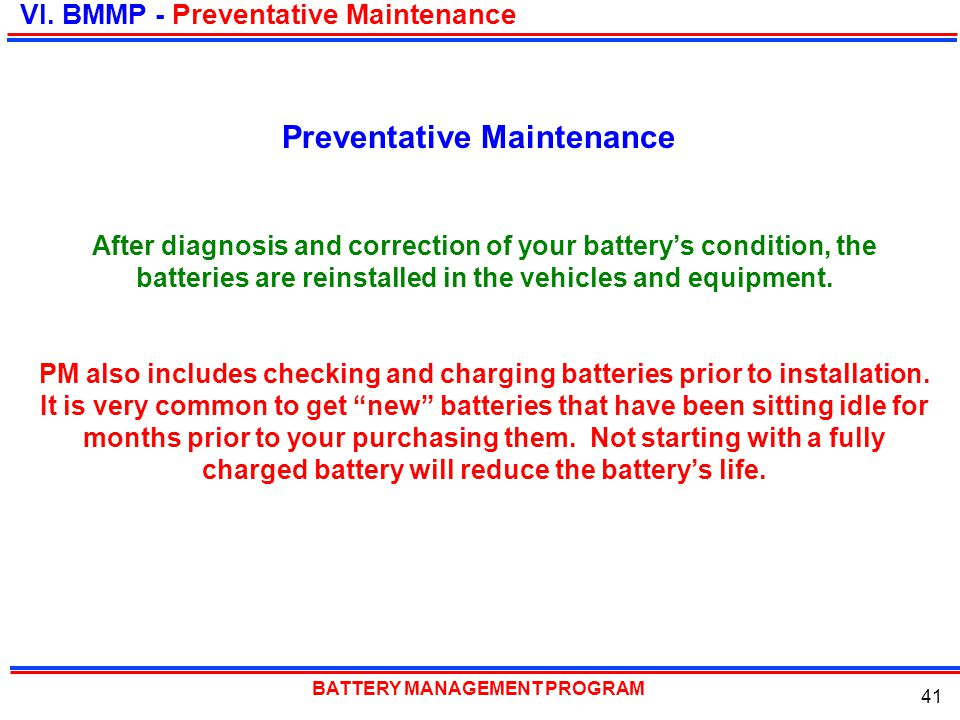 Preventative Maintenance