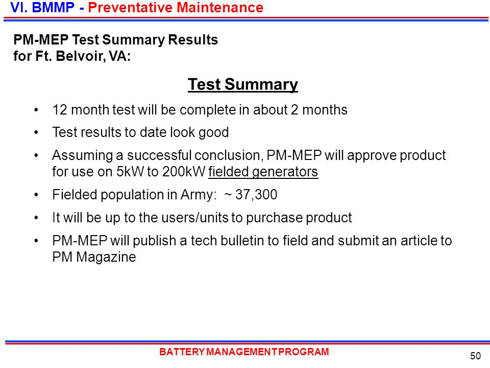 Test Summary VI. BMMP - Preventative Maintenance
