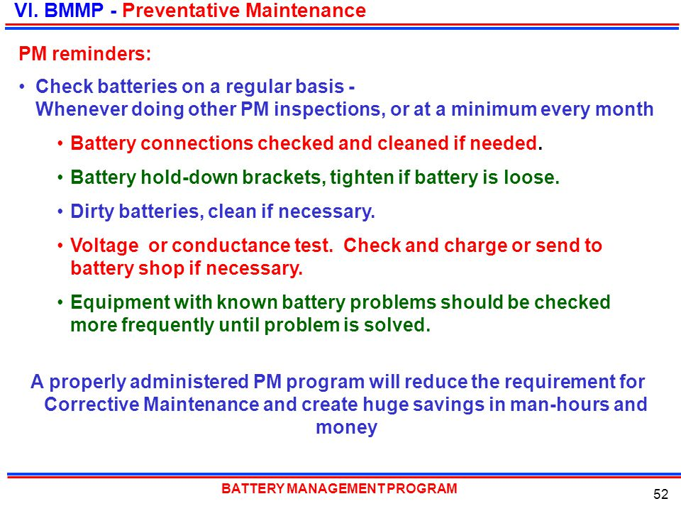 VI. BMMP - Preventative Maintenance