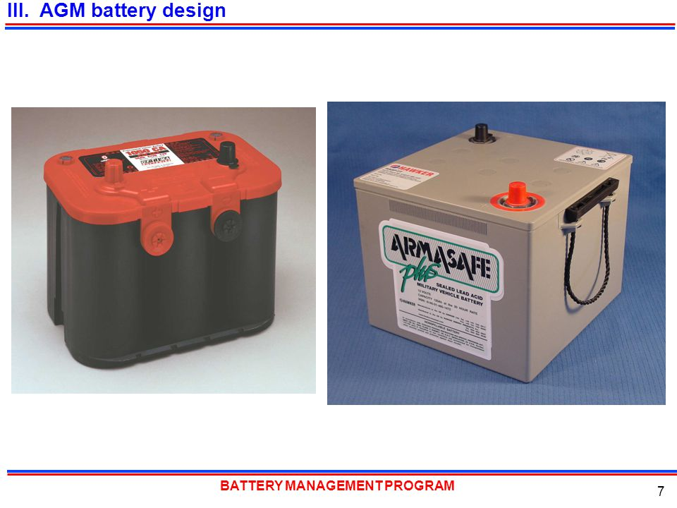 III. AGM battery design