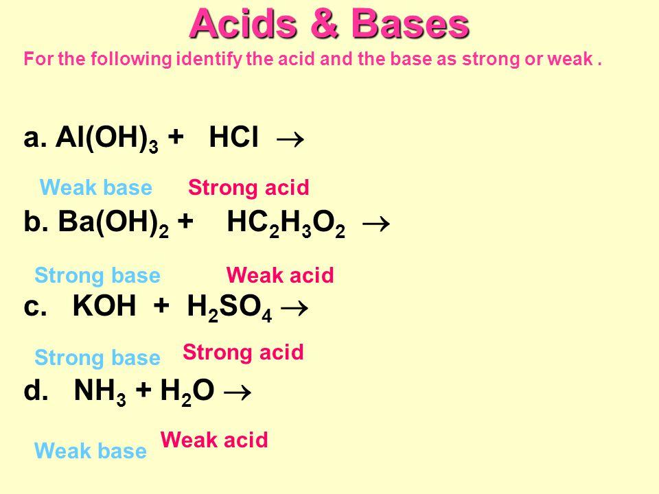 Acids & Bases a. Al(OH)3 + HCl  b. Ba(OH)2 + HC2H3O2 