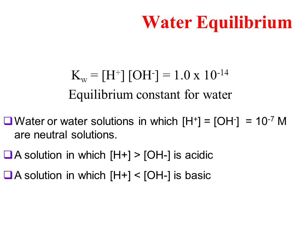 Equilibrium constant for water