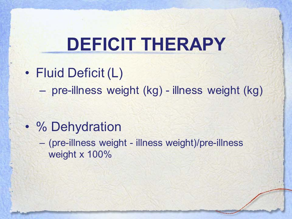 DEFICIT THERAPY Fluid Deficit (L) % Dehydration