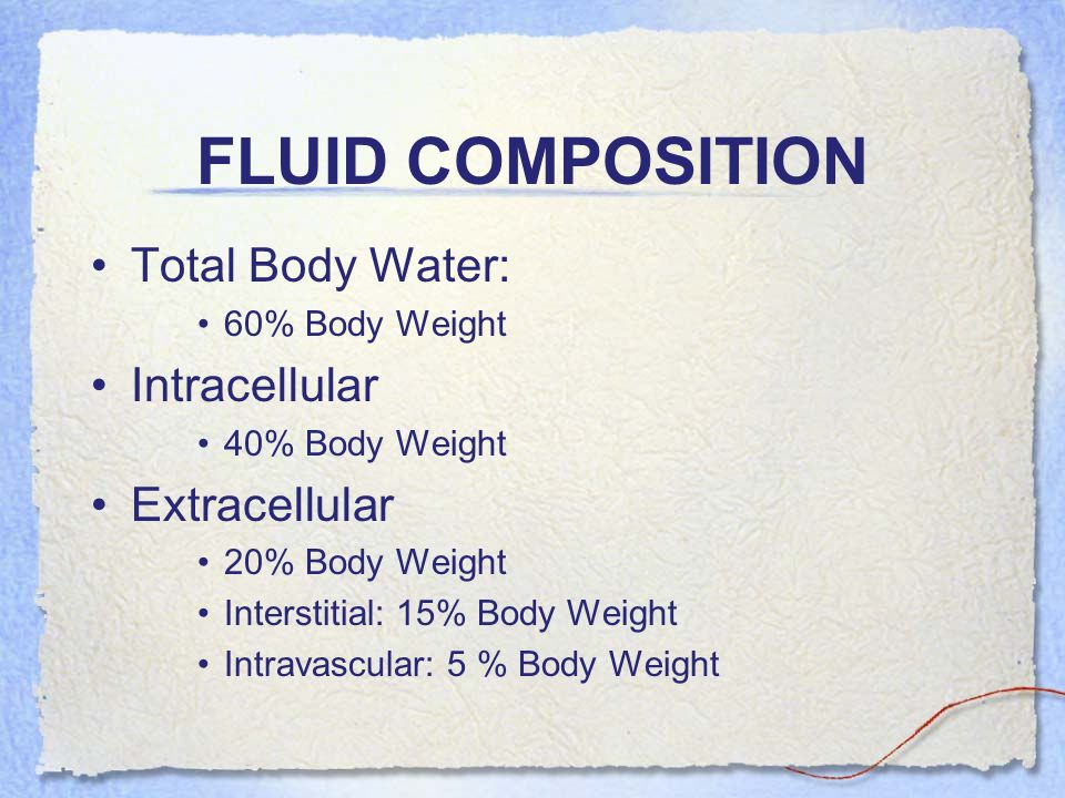 FLUID COMPOSITION Total Body Water: Intracellular Extracellular