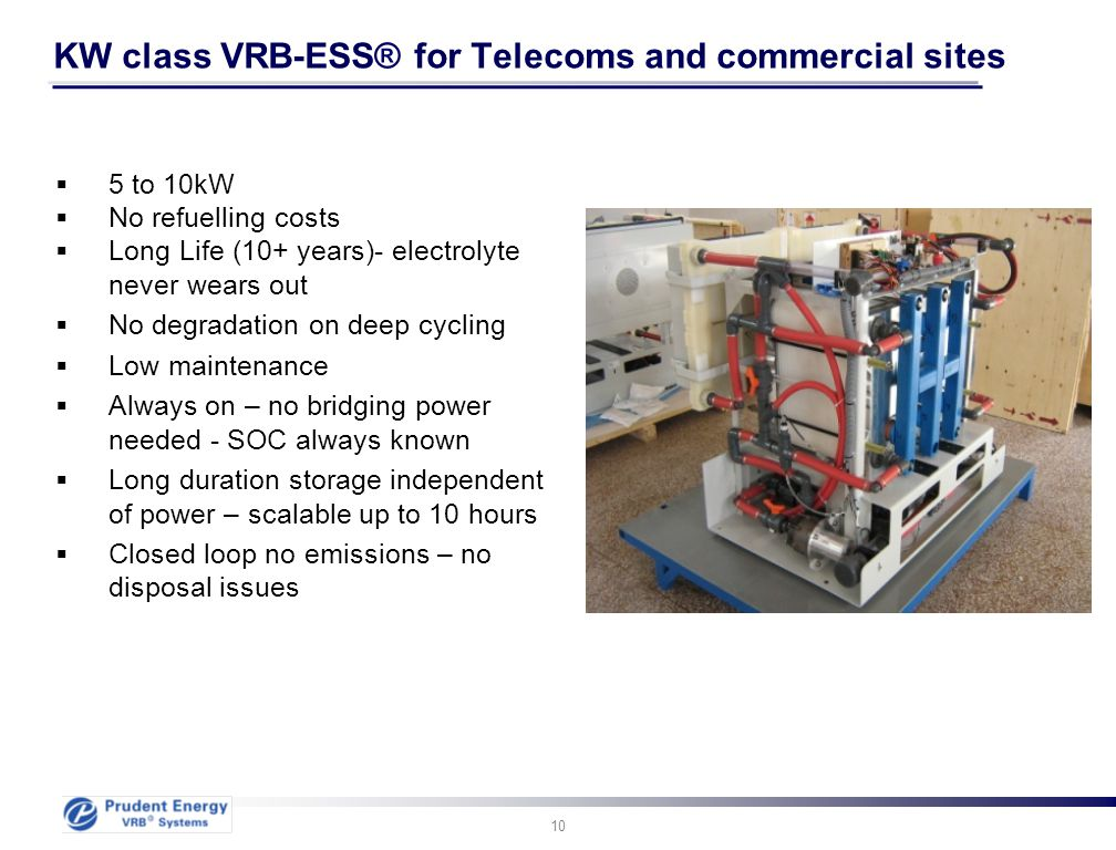 KW class VRB-ESS® for Telecoms and commercial sites