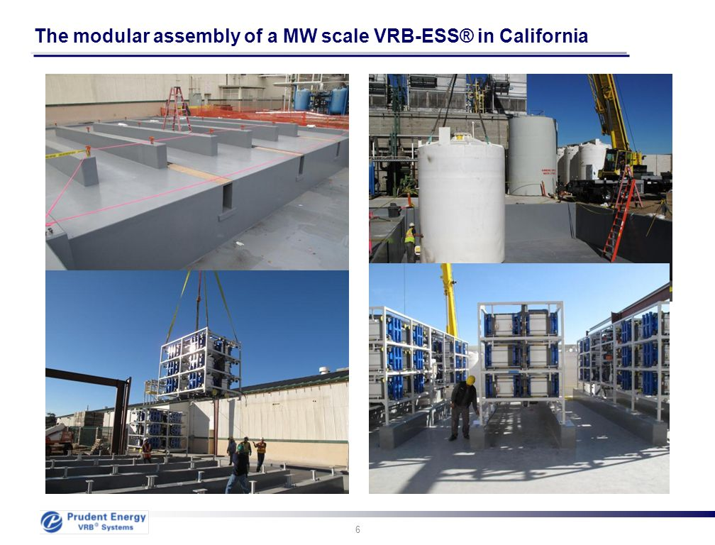 The modular assembly of a MW scale VRB-ESS® in California