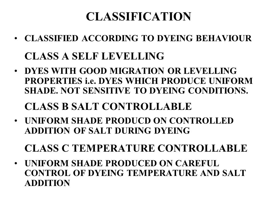 CLASSIFICATION CLASS A SELF LEVELLING CLASS B SALT CONTROLLABLE