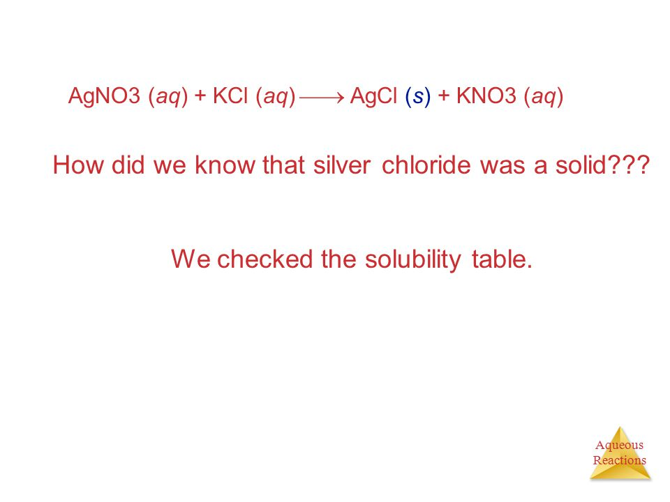 How did we know that silver chloride was a solid