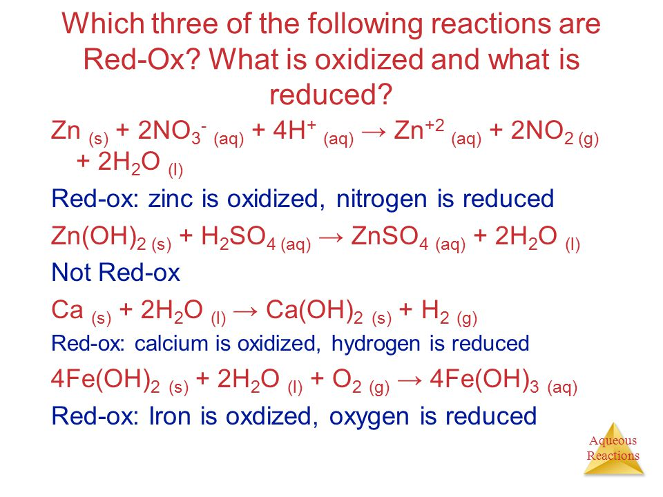 Which three of the following reactions are Red-Ox