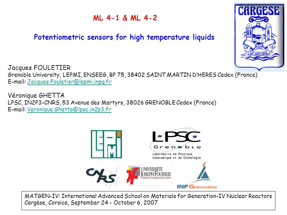 Potentiometric sensors for high temperature liquids