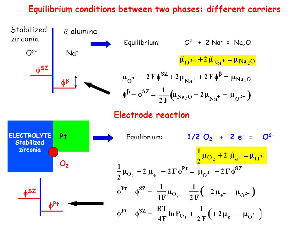 Equilibrium conditions between two phases: different carriers
