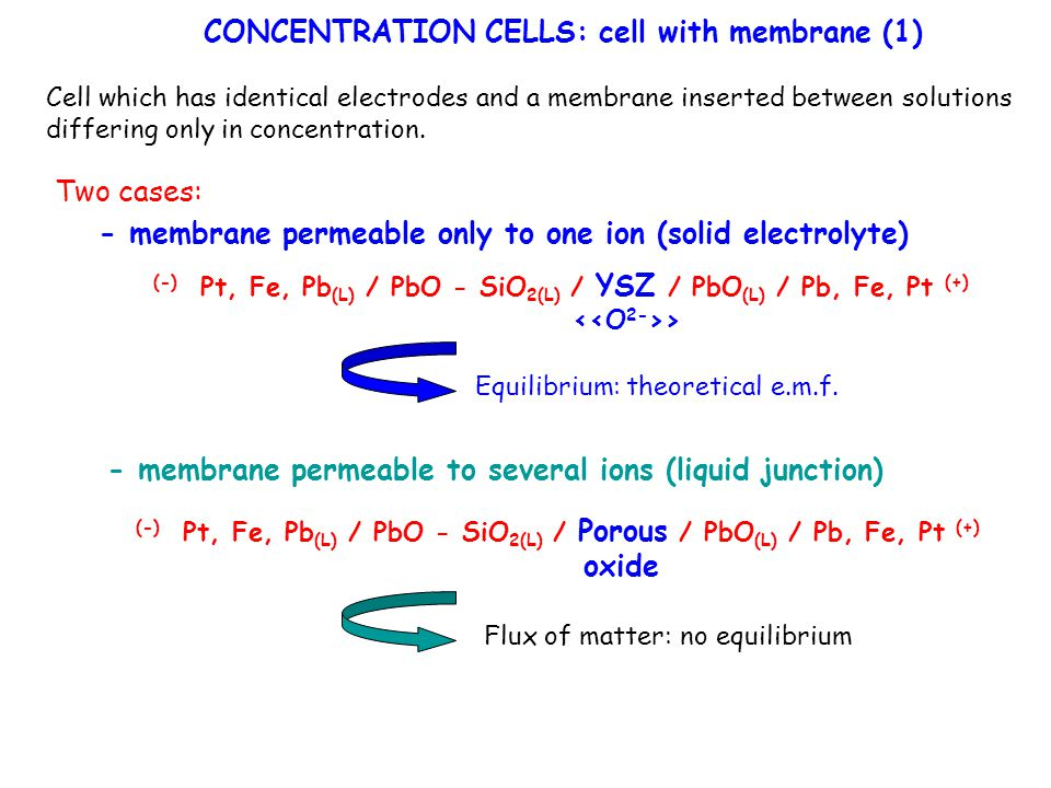 CONCENTRATION CELLS: cell with membrane (1)