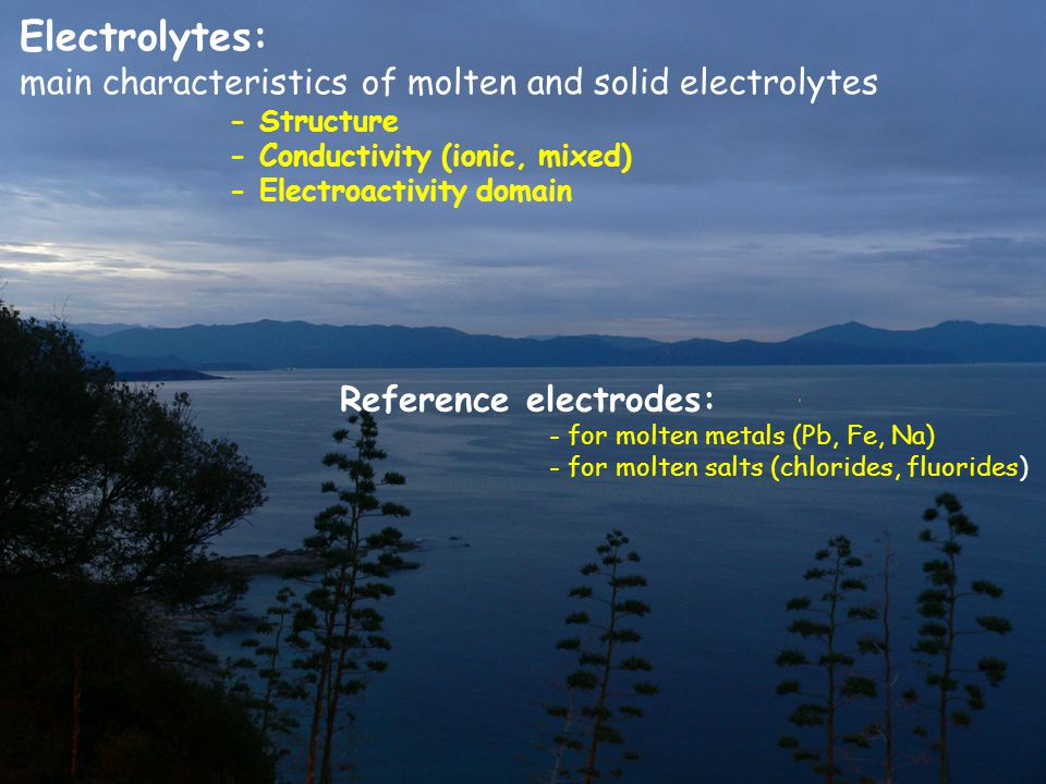 Electrolytes: main characteristics of molten and solid electrolytes