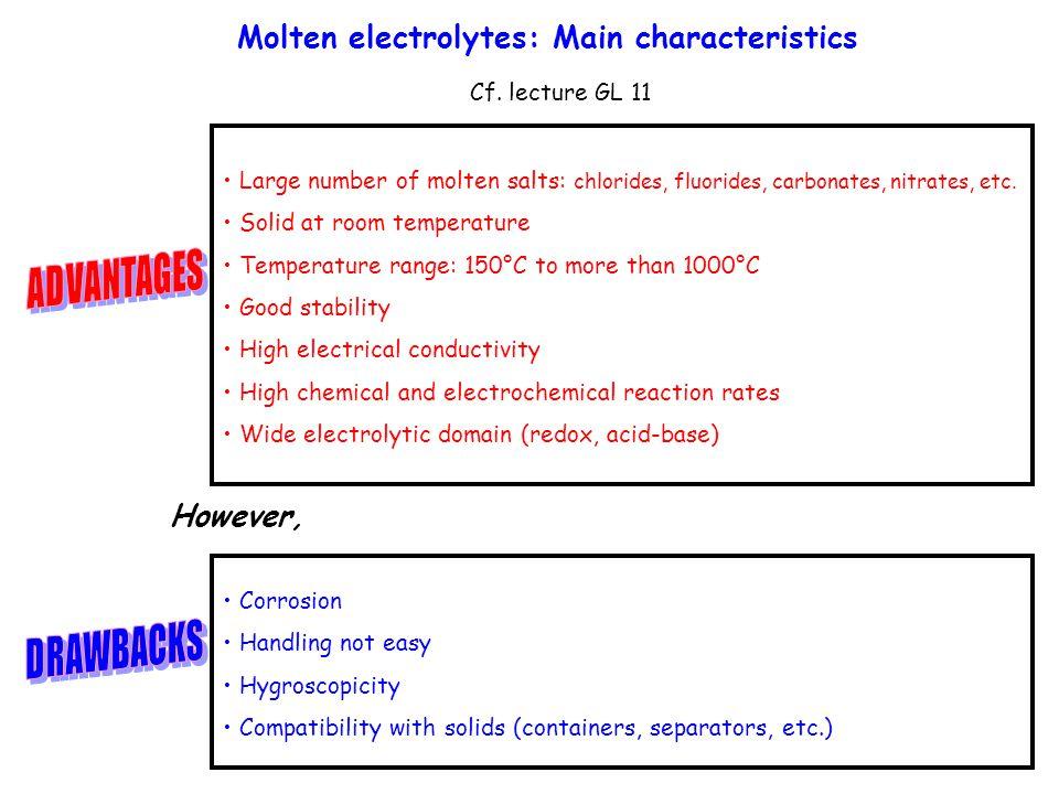 Molten electrolytes: Main characteristics