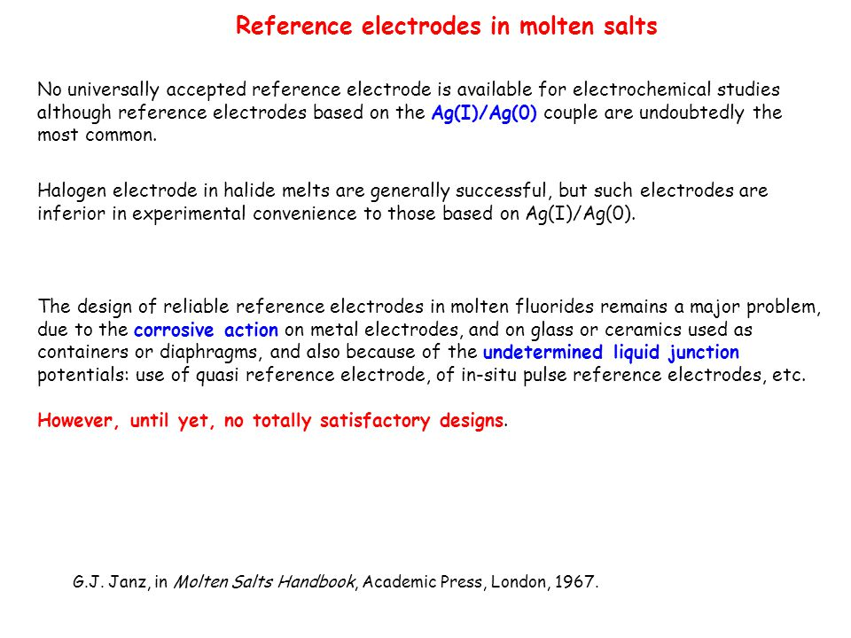 Reference electrodes in molten salts