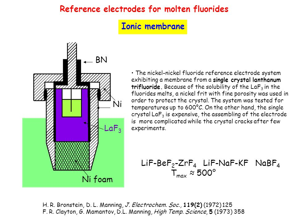 Reference electrodes for molten fluorides