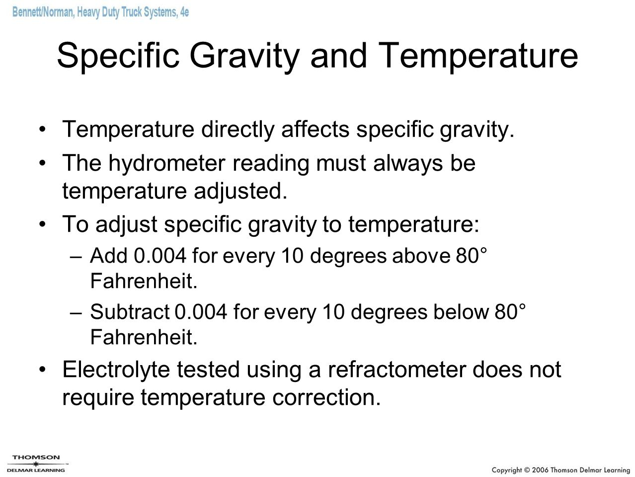 Specific Gravity and Temperature