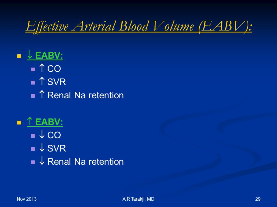 Effective Arterial Blood Volume (EABV):