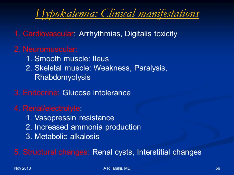Hypokalemia: Clinical manifestations