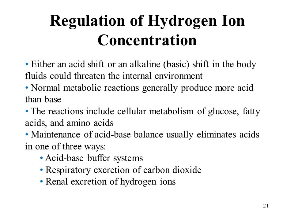 Regulation of Hydrogen Ion Concentration