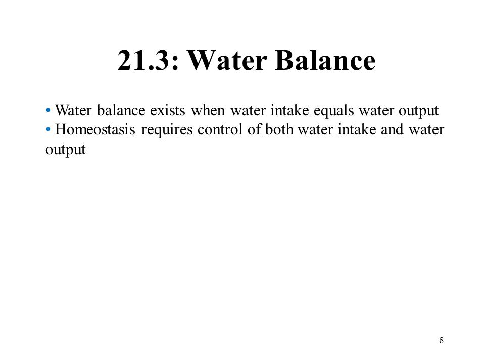 21.3: Water Balance Water balance exists when water intake equals water output.
