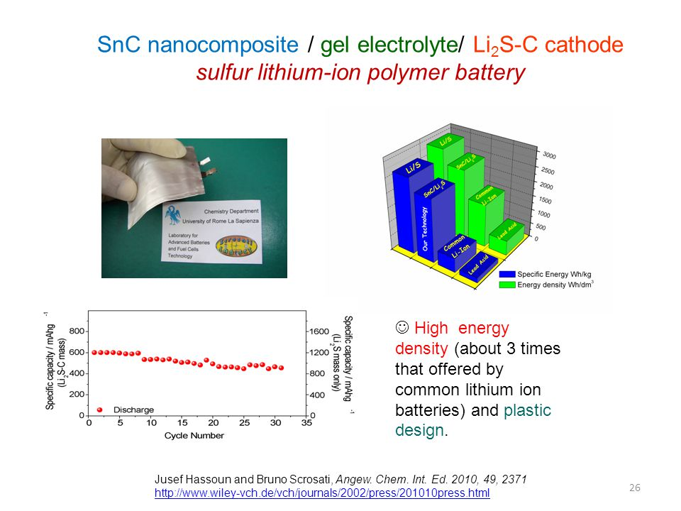 SnC nanocomposite / gel electrolyte/ Li2S-C cathode sulfur lithium-ion polymer battery