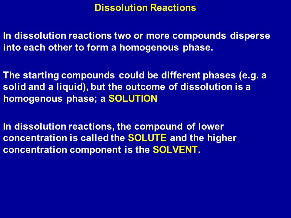 Dissolution Reactions