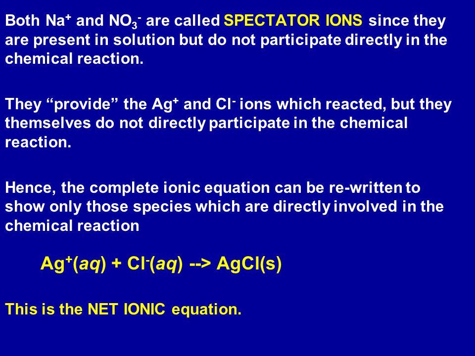 Ag+(aq) + Cl-(aq) --> AgCl(s)