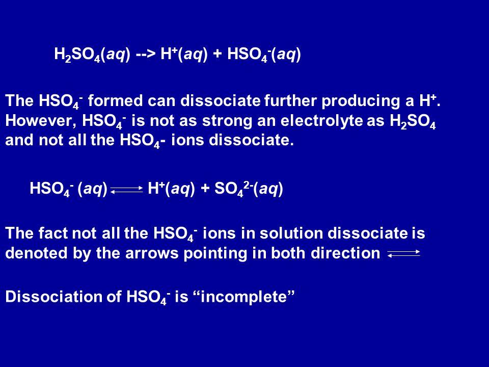H2SO4(aq) --> H+(aq) + HSO4-(aq)