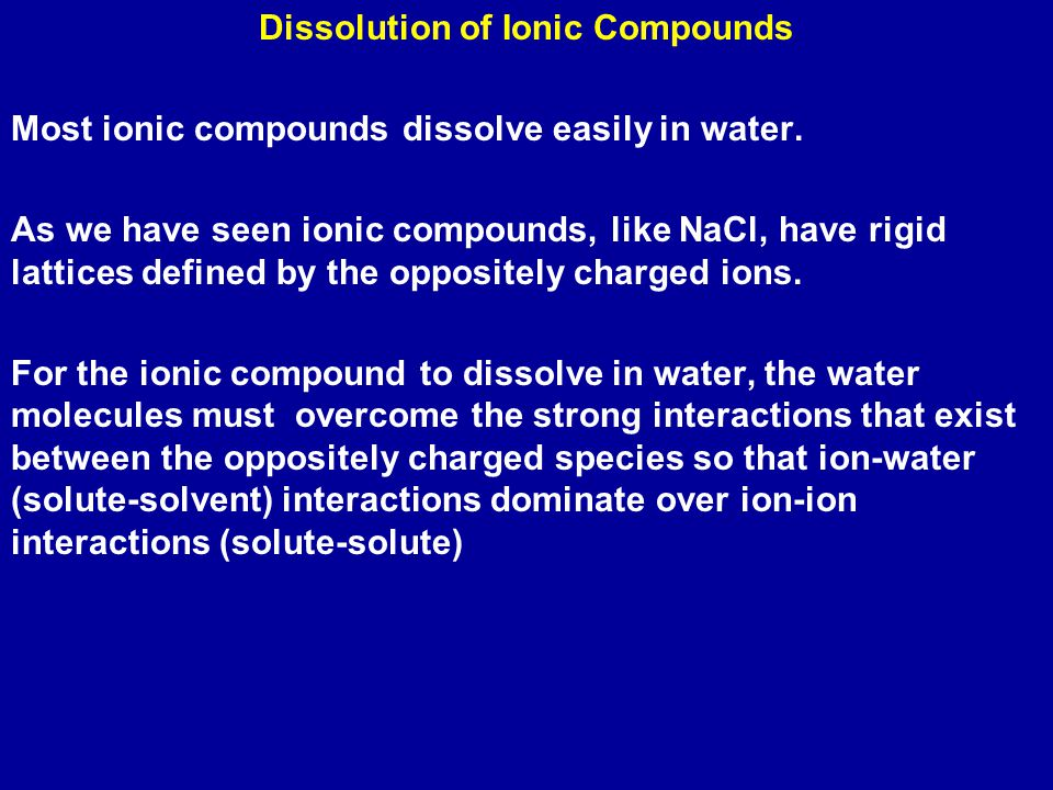 Dissolution of Ionic Compounds